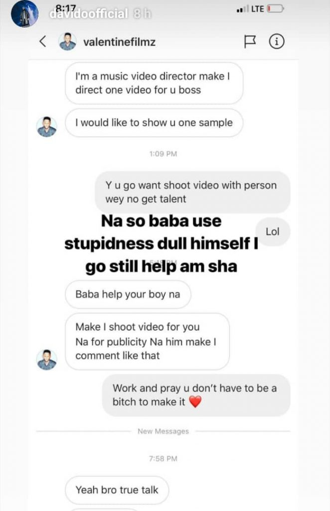 Davido Exposes Music Video Director Who Called Him